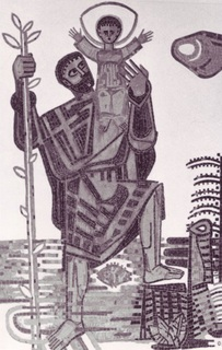The life-sized portrayal of St. Christopher with Jesus as a child was located in the break room since 1960. The mosaic was designed by the Weeze artist Johannes Mennekes (1911 – 1983) and created by the school children. In 2004 the mosaic was carefully rebuilt on the edge of the Schulstrasse (school street)