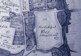 The town centre of Weeze (highlighted) was surrounded by embankments and ditches in the 17th/18th century