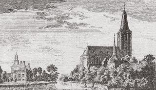 Hertefeld Manor and the Sankt Cyriakus Church as seen from the north. A copperplate etching by P. van Liender from a drawing by Jan de Beijer, 1743