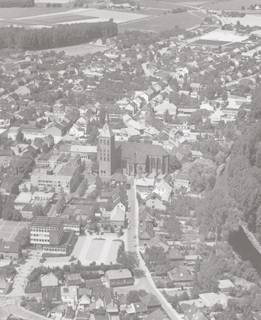 The town centre of Weeze, view from an aerial photograph from the south, 1980's