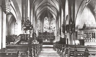 Sankt Cyriakus, interior, view in direction of the eastern quire, before 1945.