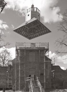 Hertefeld Manor, mounting of the baroque tower cover, April 2005.