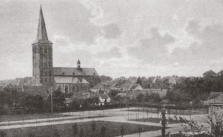 New Market with Church, postcard-view from about 1920.