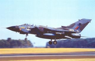 A Tornado from 20 Squadron takes off from Laarbruch on a training flight, 1990.